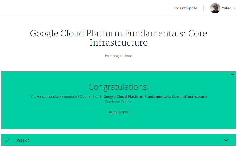 Coursera_Completed_GCP_CoreInfra_Week1_Congrats