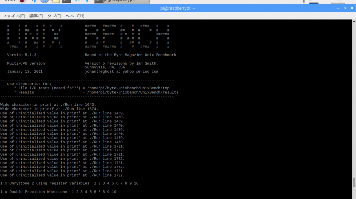 [ICT] Raspberry Pi 3B+ Unix Bench