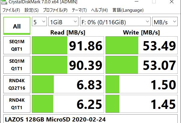 [ICT] LAZOS MicroSD 128GB ベンチマーク結果